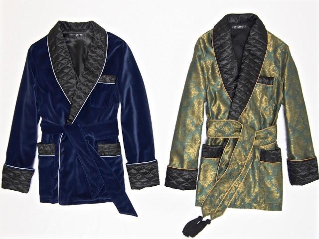 Mens velvet smoking jacket paisley silk robe