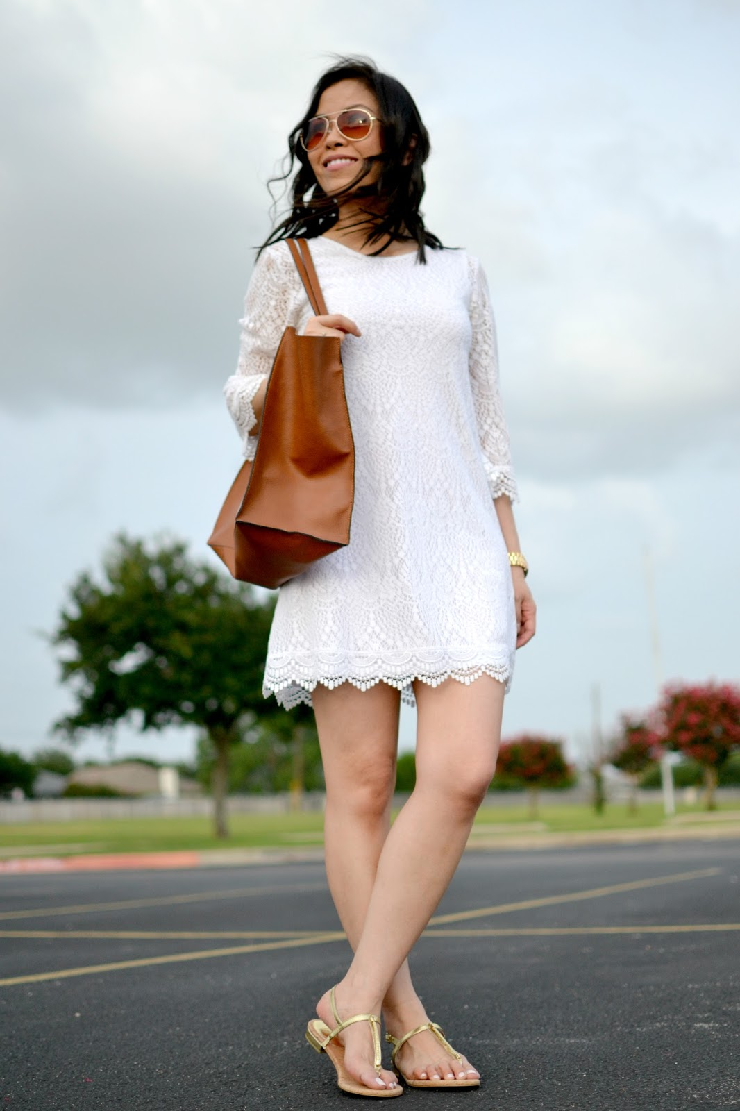 6645fccf2cb3af Style and Cappuccino   Summer Lace  White Lace Dress   Gold Sandals