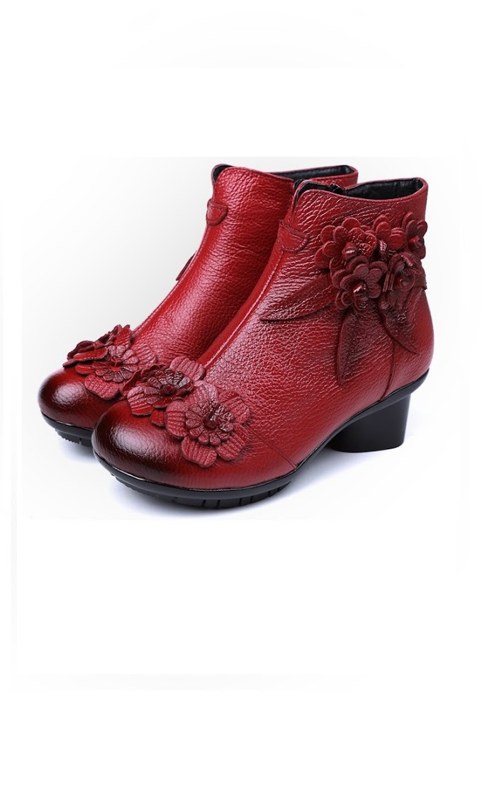 Vintage Boots Genuine Leather Ankle Boots New Winter Women Warm Shoes