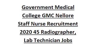 Government Medical College GMC Nellore Staff Nurse Recruitment 2020 45 Radiographer, Lab Technician Govt Jobs Application form