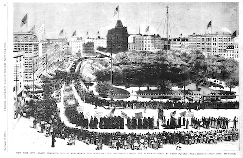 Union Square, New York site of first Labor Day parade, 1872