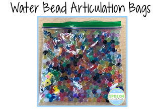 Using water beads, a collection of small trinkets, and some ziploc bags, you can have a fun, engaging activity for your students working on articulation goals!.
