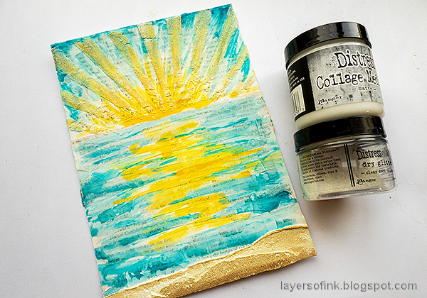 Layers of ink - Sunny Ocean and Beach Mixed Media Scene Tutorial by Anna-Karin Evaldsson. Add Rock Candy Glitter.
