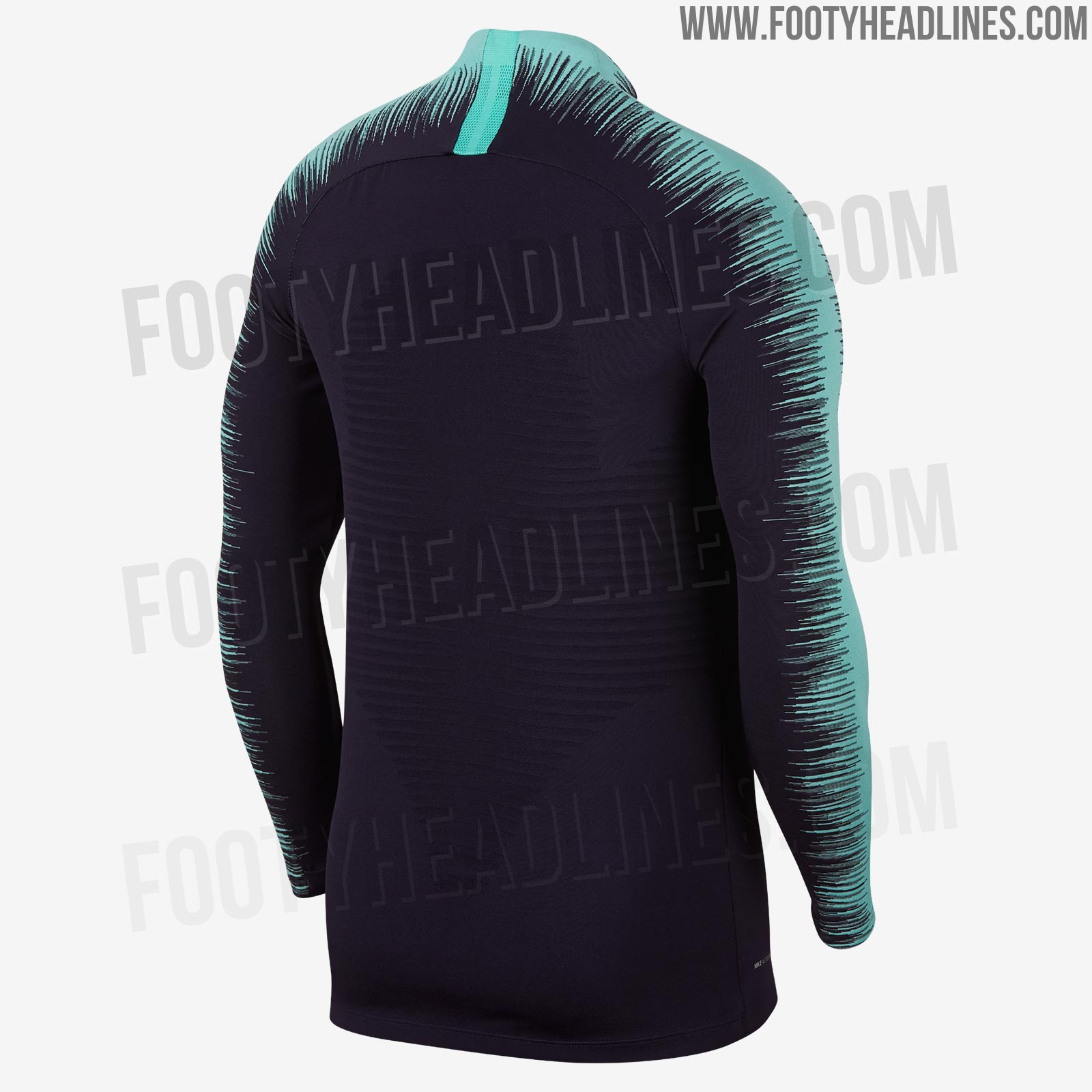 7b819fc67 The players  version of the FC Barcelona 18-19 training uniform combines a  dark blue base with teal details in the form of the new Nike template s  trademark ...