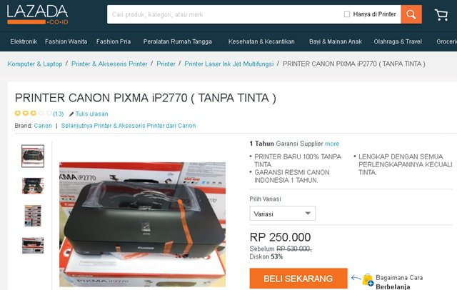 Harga Printer Canon Pixma iP2770
