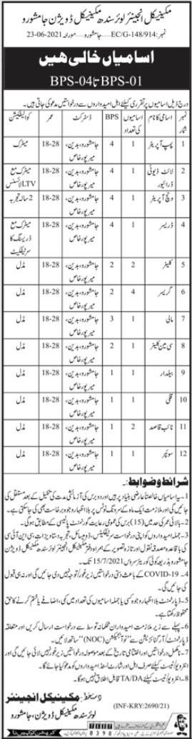 Lower Sindh Mechanical Division Jamshoro Jobs 2021