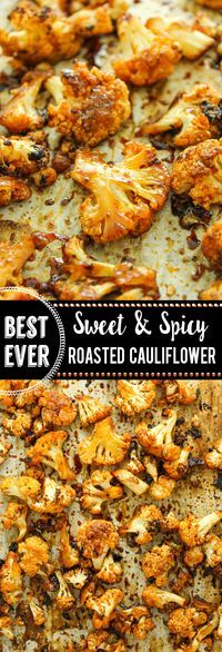Keep it simple with this oven-roasted side dish. Cauliflower florets are tossed in an irresistible sweet and spicy marinade and baked until tender.