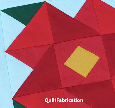 Poinsettia Quilt Block closeup in Kona solids by QuiltFabrication