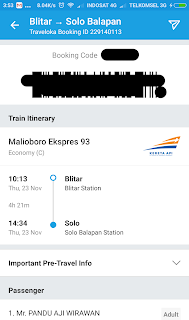 Penampakan E-Ticket Kereta Api di Traveloka