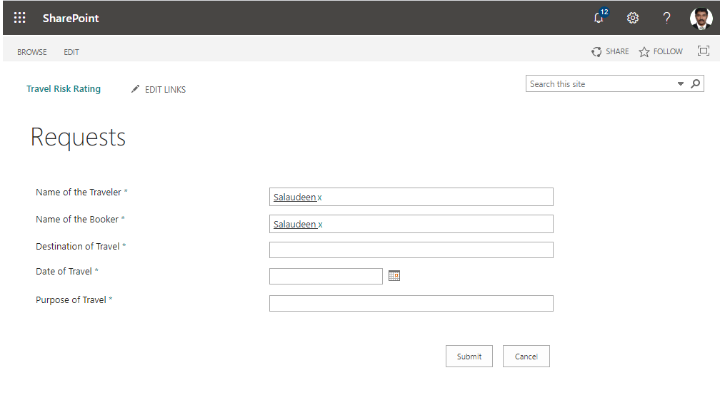 sharepoint online fill current user in person or group field in list new form