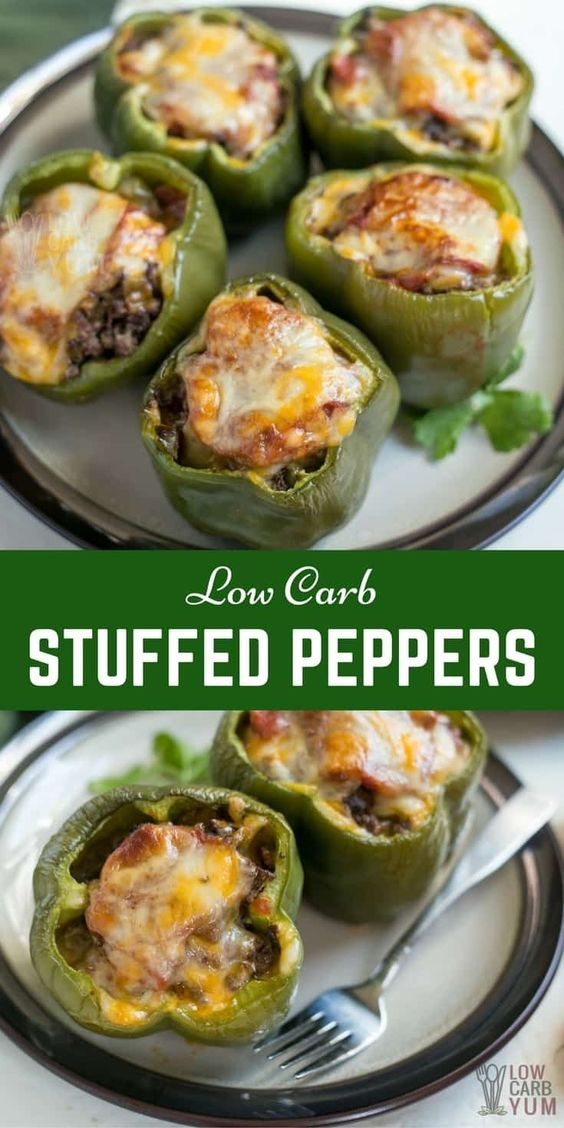 Low Carb Stuffed Peppers Topped with Cheese
