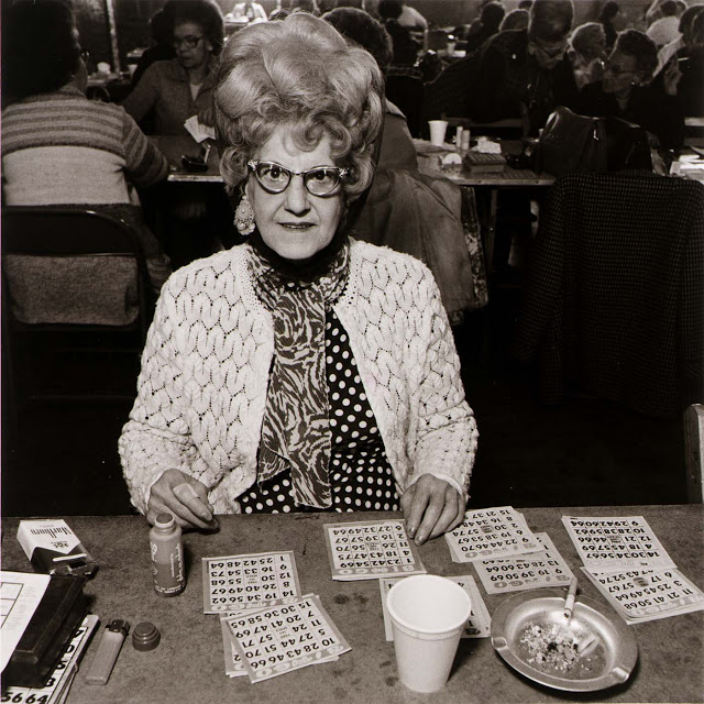 Old lady with a huge updo playing Bingo 1960s. Grandmothers and Glasses and Other stories of Matronly Women. marchmatron.com