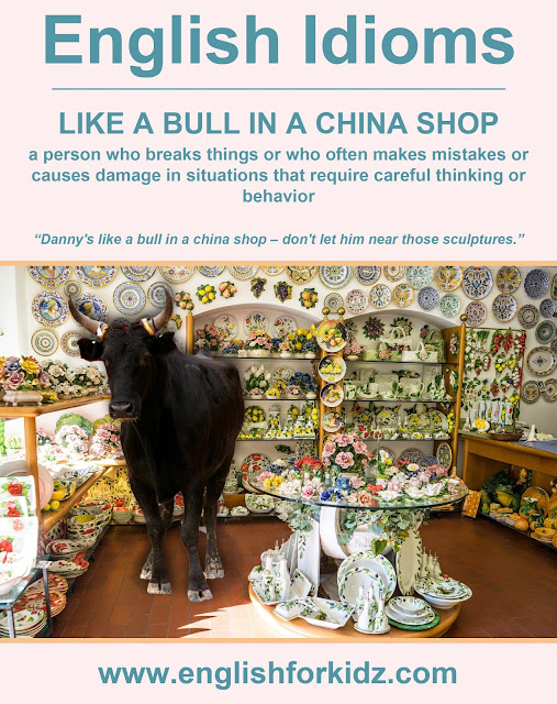 English idiom picture - like a bull in a China shop