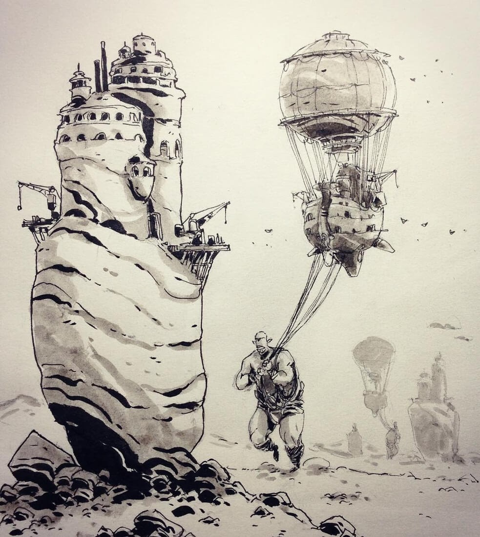 09-Giants-Transport-Ullikummi-Fantasy-Lands-in-Ink-Drawings-www-designstack-co