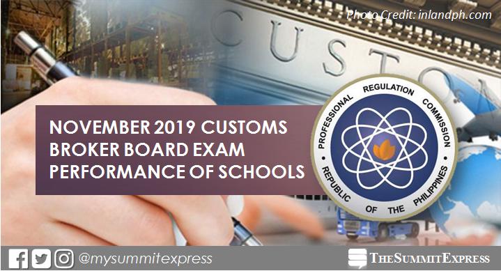 November 2019 Customs Broker board exam result: performance of schools