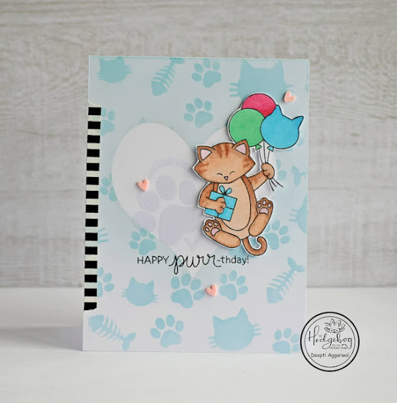 Happy Purr-thday by Deepti features Newton's Birthday Balloons by Newton's Nook Designs; #newtonsnook, #inkypaws, #cardmaking, #catcards, #birthdaycards