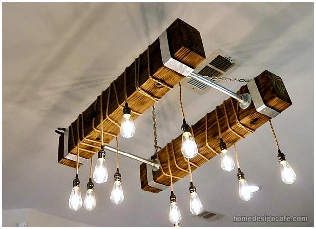 DIY Wood Chandelier Home Decor