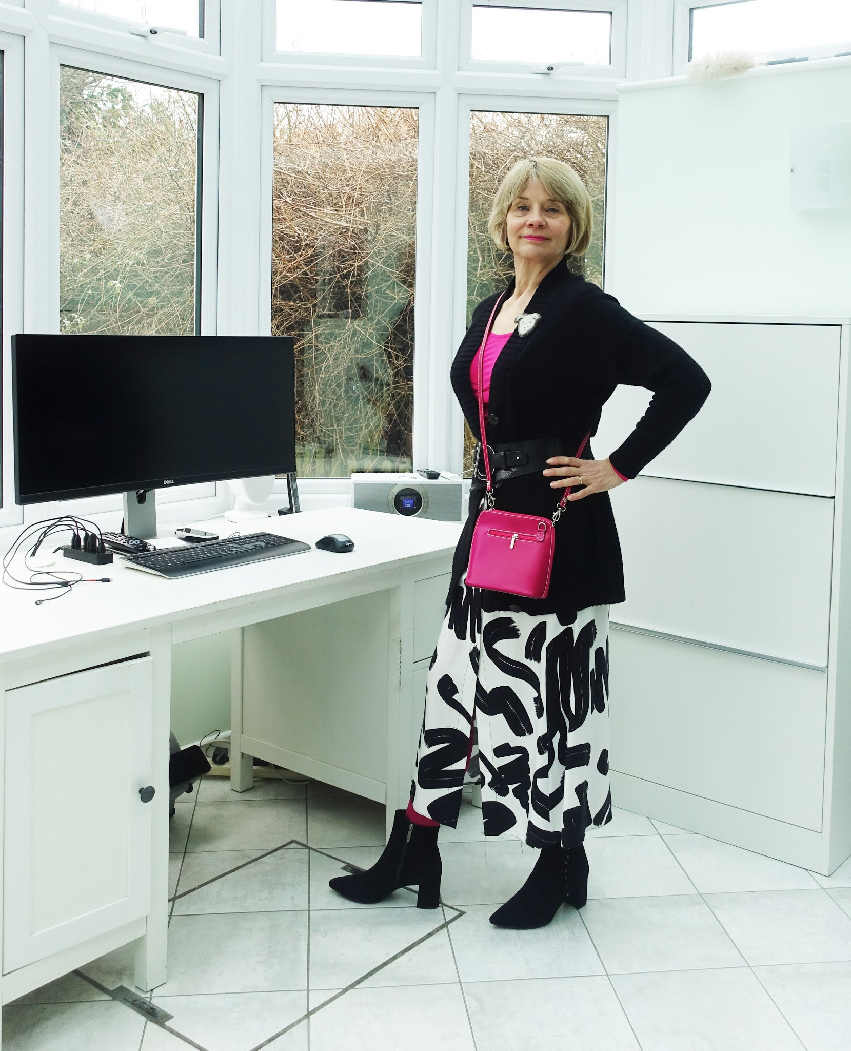 Black and fuchsia styled by a bright spring/winter, Is This Mutton blogger Gail Hanlon