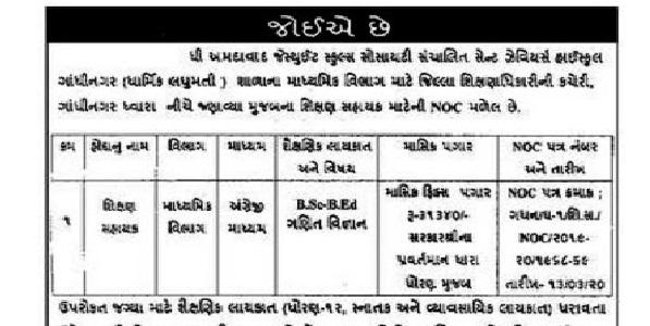 St. Xavier's High School Gandhinagar Recruitmentfor Shikshan Sahayak