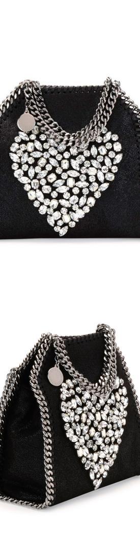 Stella McCartney Falabella Tiny Heart Shoulder Bag, Black