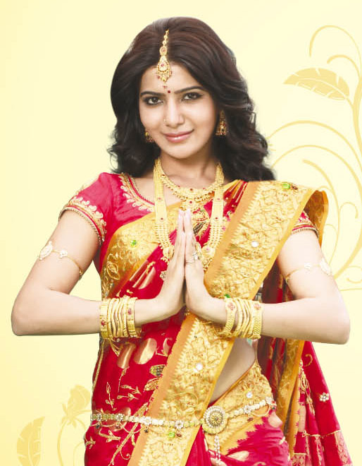 Indian Actress Samantha Cute Photos In Jewellery Traditional Red Saree
