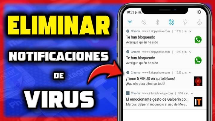 Cómo borrar notificaciones de virus o publicidad de Chrome en Android