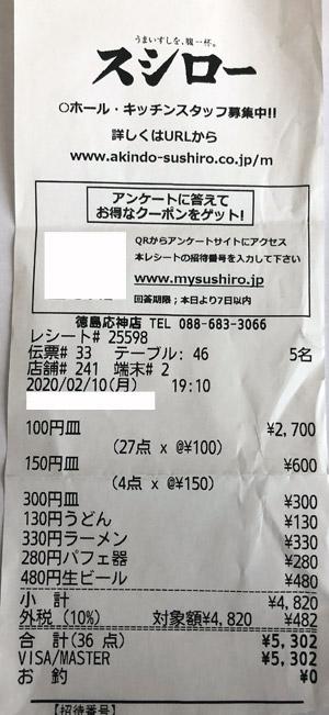 スシロー 徳島応神店 2020/2/10 飲食のレシート