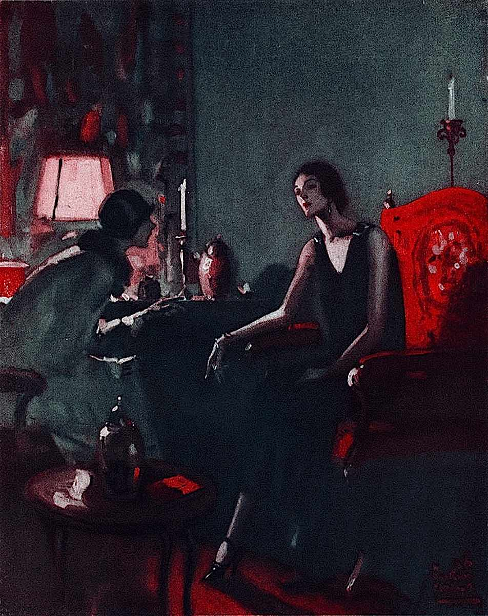 a Wilmont Emerton Heitland 1929 magazine color illustration of two women talking