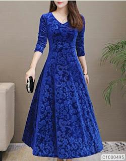 Women's Velvet Solid Full Sleeve Maxi Dresses