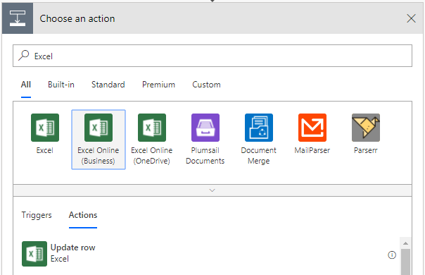 Configuring an action in Microsoft Flow using Excel Online