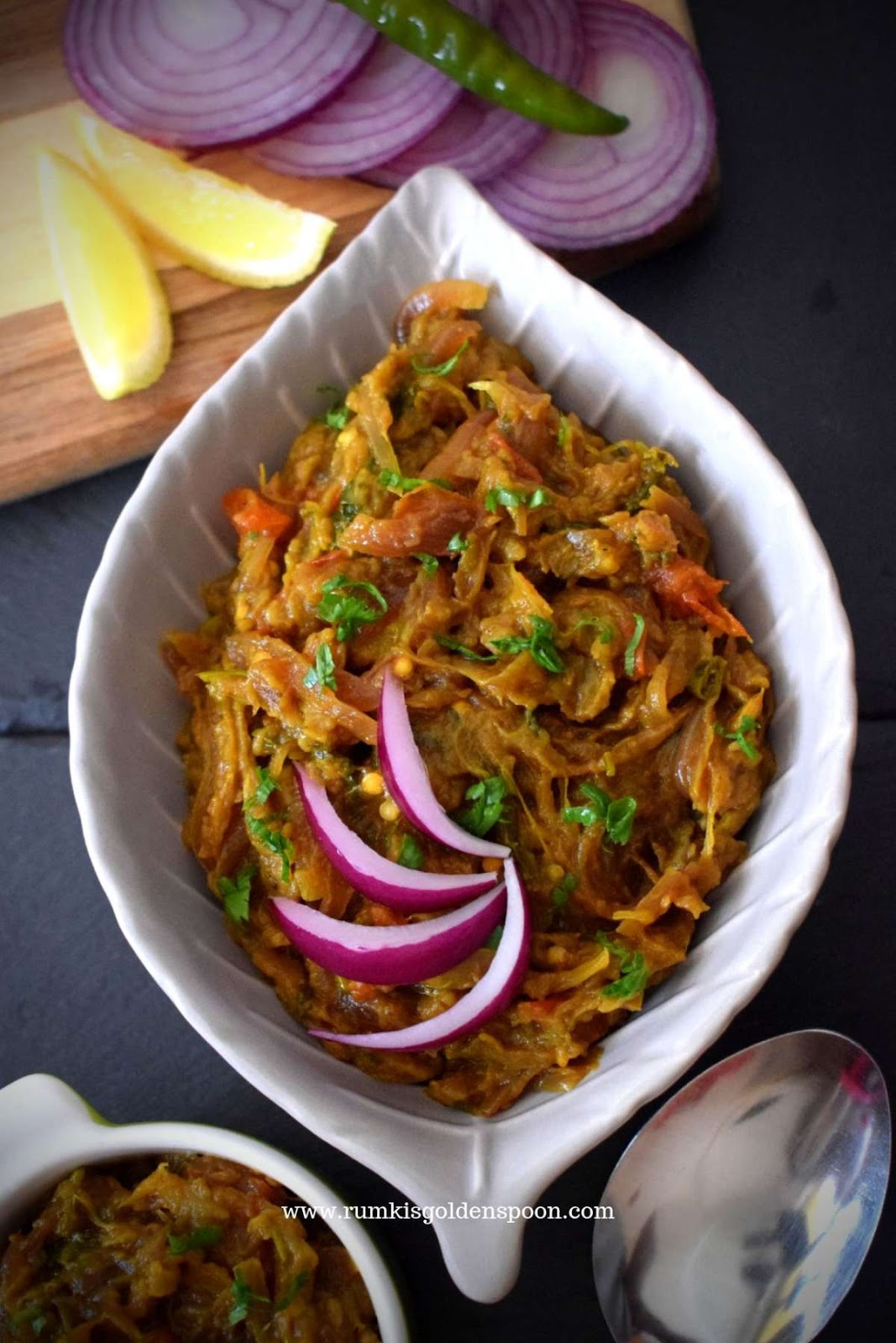 Indian Recipe, Vegan, Vegetarian, Punjabi Style Baingan Ka Bharta (Smoky Aubergines Mash), Begun Pora, Rumki's Golden Spoon, Egg Plant recipes, brinjal recipe, barbeque