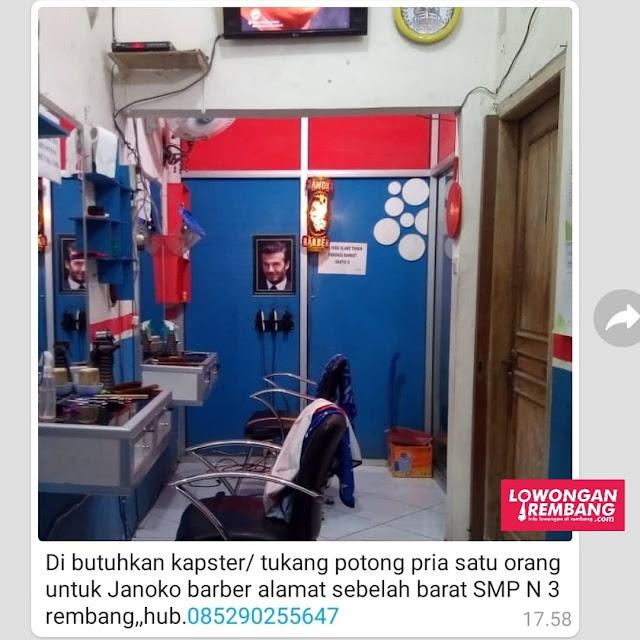 Lowongan Kerja Kapster Tukang Potong Janoko Barbershop Rembang Tanpa Syarat Pendidikan