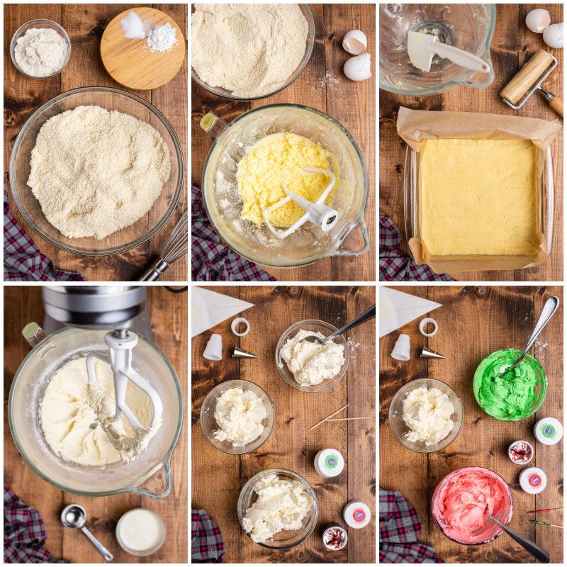 6 overhead photos of the process of making Keto Sugar Cookie Bars.