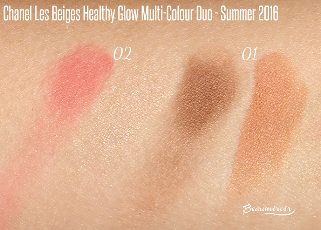 Swatches of Chanel Les Beige Healthy Glow Multi-Colour Duos