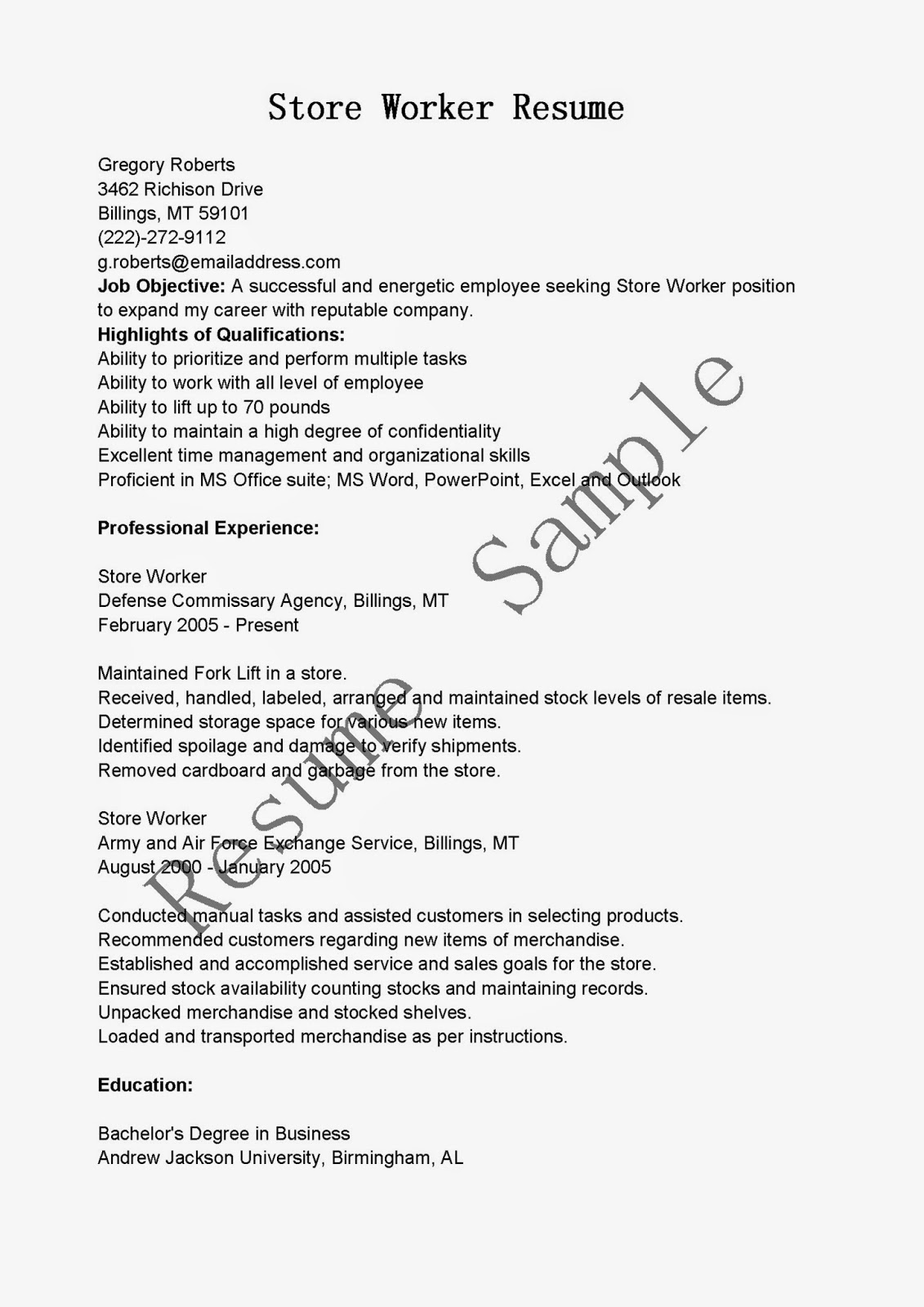 resume samples  store worker resume sample