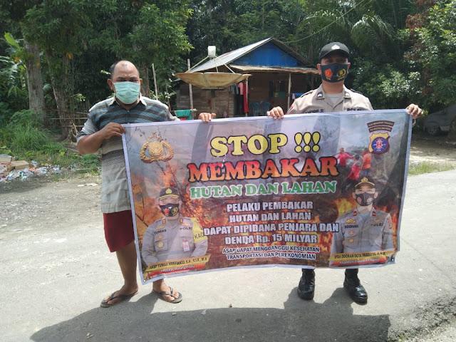 Personel Polsek Banama Tingang Terus Himbau Masyarakat Untuk Tidak Membakar Hutan Dan Lahan
