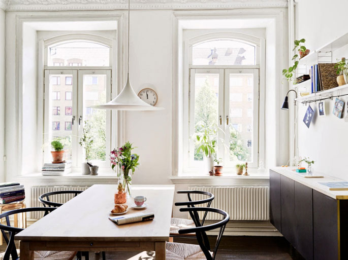 Utilitarian Nordic Home with Bohemian Elements Dining Room