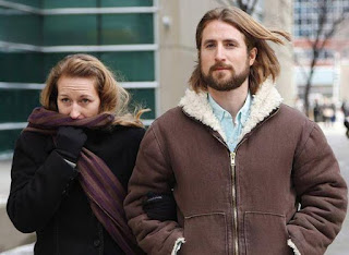 David and Collet Stephan leave for a break during their appeals trial in Calgary on March 9, 2017. In 2016, Stephan and his wife were both found guilty of failing to provide the necessaries of life in their son Ezekiel's 2012 death from bacterial meningitis.