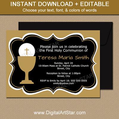 black & gold elegant fancy first communion invitations