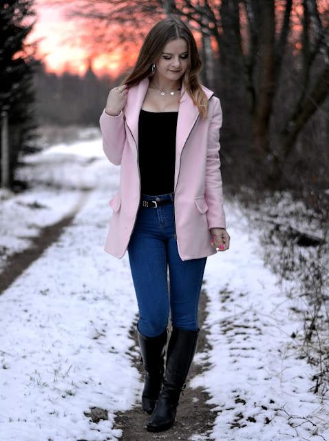 Różowy zachód słońca vs różowy płaszcz ♥