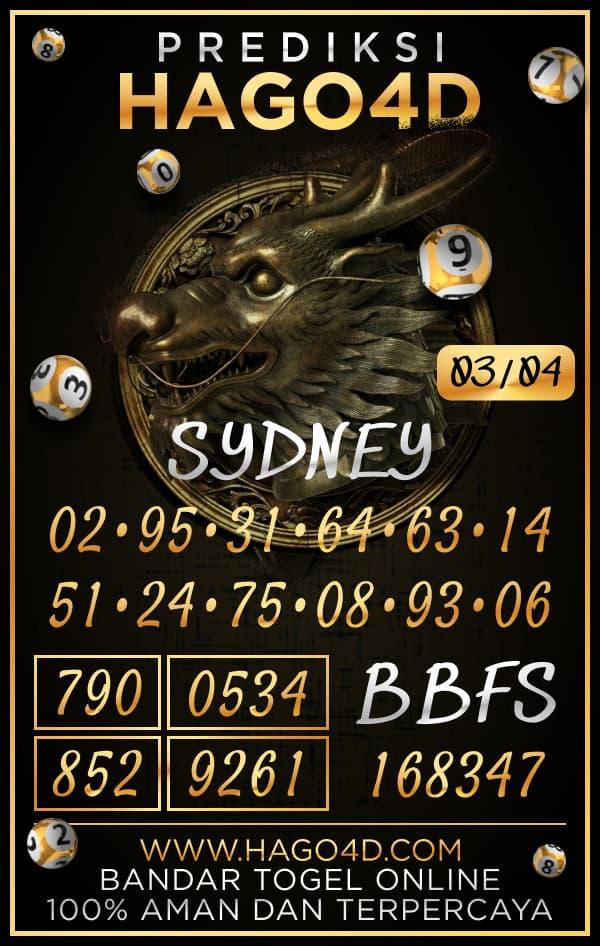 Prediksi Hago4D - Rabu, 3 April 2021 - Prediksi Togel Sydney