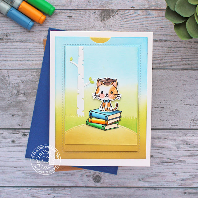 Sunny Studio Stamps: Grad Cat Sliding Window Dies Rustic Winter Dies Graduation Themed Card by Vanessa Menhorn