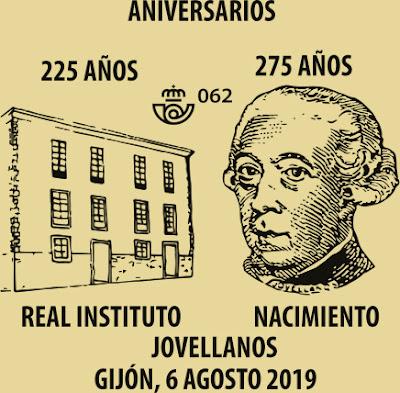 Matasellos sobre aniversario de Jovellanos, Grupo El Texu, Gijón
