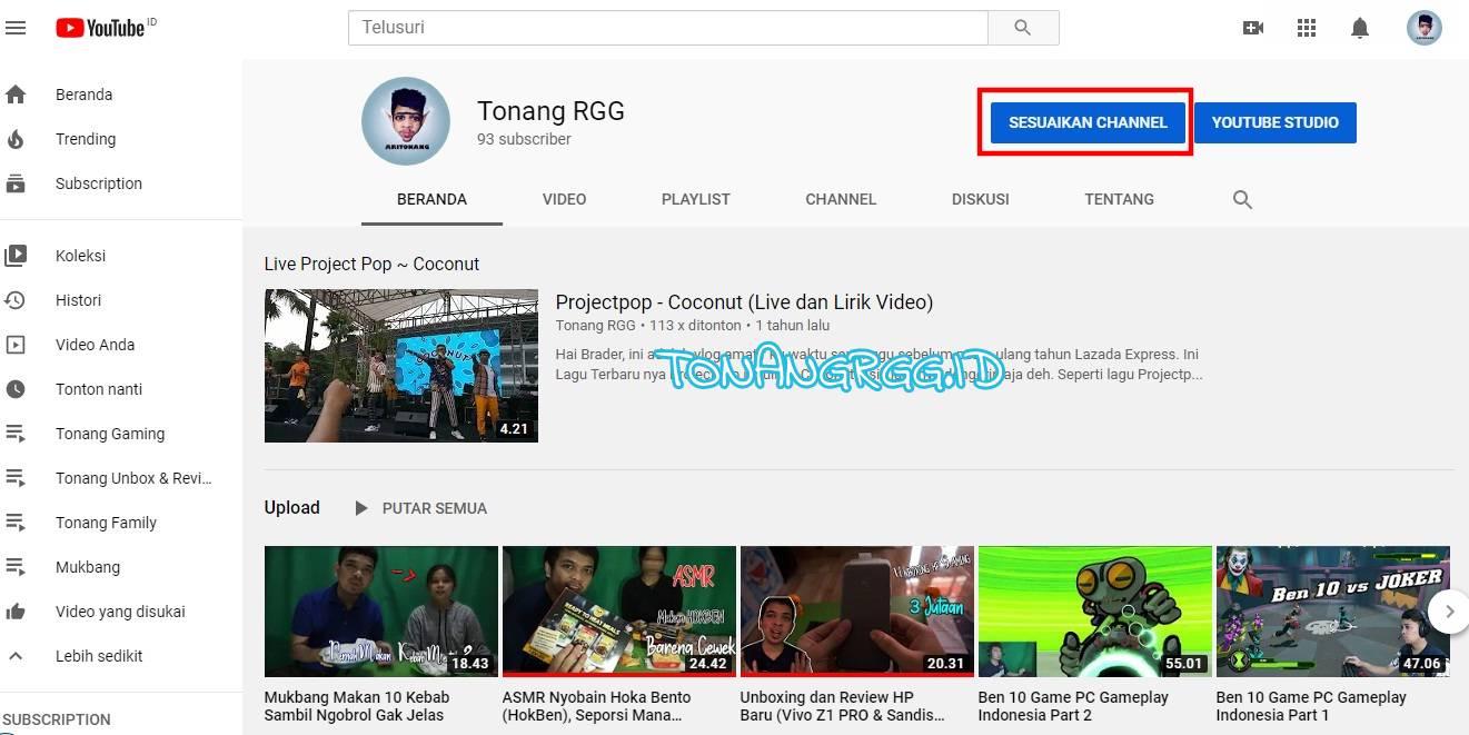 Dunia Tonang, Cara Membuat Link Sosial Media di Banner Youtube Channel, TonangRGG, Tonang RGG