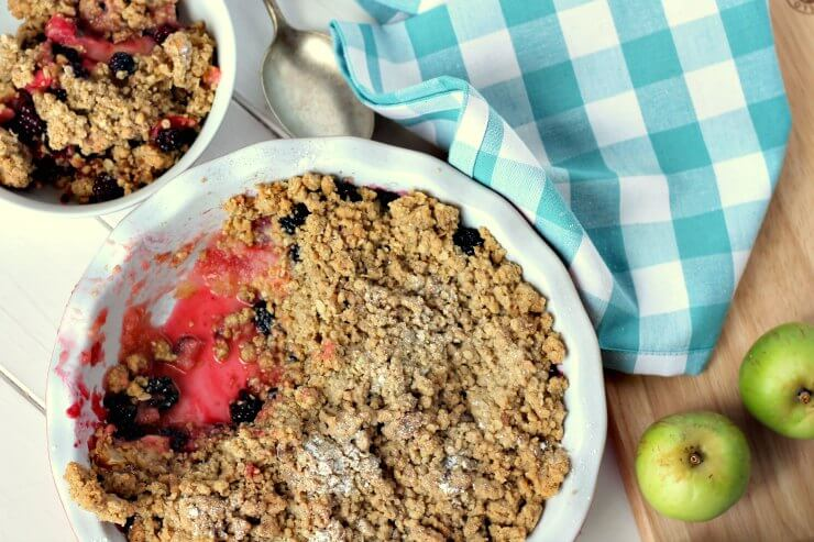 Apple & Blackberry Crumble in serving dish