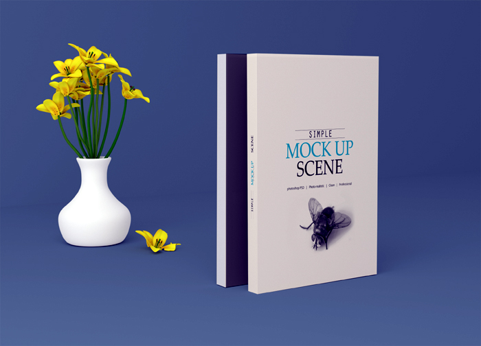 Standing Position Book Cover Mockup Psd Template