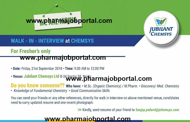 Jubilant Chemsys Ltd Walk In Interview For Freshers at 21 September