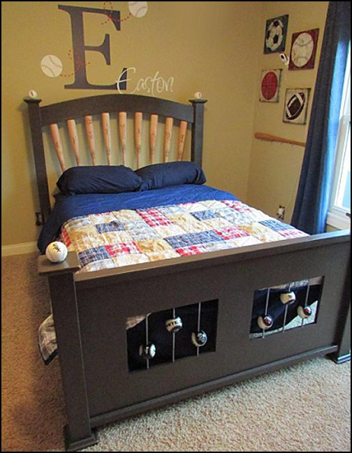 Baseball Theme Bed  baseball bedroom decorating ideas - baseball bedroom decor - boys baseball theme bedrooms - Baseball Room Decor - baseball wall murals - baseball wall decals - Home Run Dugout Bed themed baseball bed - baseball bat headboard