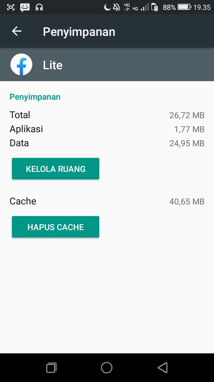 Biasanya cache yang terlalu banyak memakan ruang adalah : Facebook, Google chrome dan yutube.