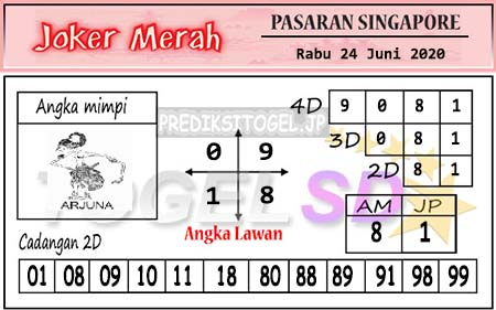 Prediksi SGP Joker Merah Rabu 24 Juni 2020